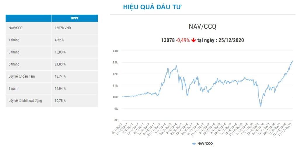 Biểu đồ tăng trưởng của quỹ đầu tư BVPF